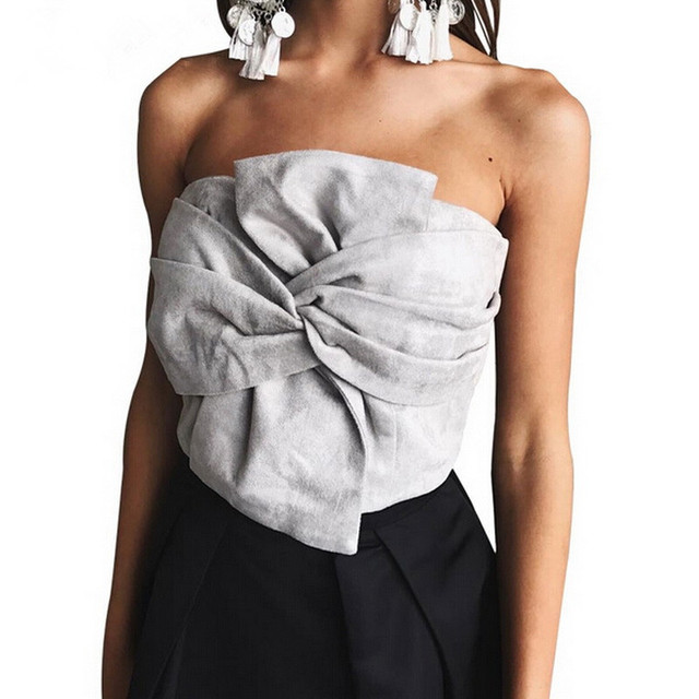 Zewo Mulheres Blusa Sexy Colheita Top Camurça Tanque Camisola Encabeça elegante da Festa de Noite Das Mulheres de Alta Elástica Zíper Bustier Encabeça Primavera 2017