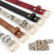 Women Classic Fashion Snake Skin Genuine Leather Waistband Wide Belt Strap Belts