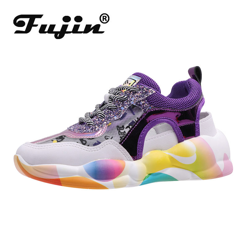 Fujin Sandals Old-Shoes Thick-Soled Female Breathable Casual Summer Women Hollow Student