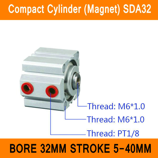 SDA32 Cylinder Magnet Compact SDA Series Bore 32mm Stroke 5-40mm Compact Air Cylinders Dual Action Air Pneumatic Cylinder ISO 5pcs lot irfh8334 irh8334 h8334 mosfet metal oxide semiconductor field effect transistor commonly used power management chip