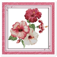 The Hibiscus Fowers 11CT 14CT Printed On Canvas DMC Cross Stitch Fabric Chinese Counted Cross Stitch