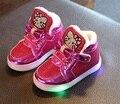 2016 мода девочка легкую обувь LED мультфильм для малышей обувь детская повседневная спортивная обувь дети сапоги детские мокасины высокое качество