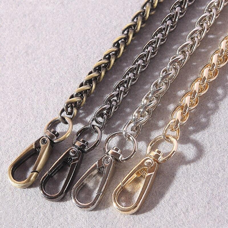 DIY 40cm-140cm Metal Replacement Chains Shoulder Straps For Handbags 8mm Gold, Silver, Gun Black, Plating Bronze Bag Handle