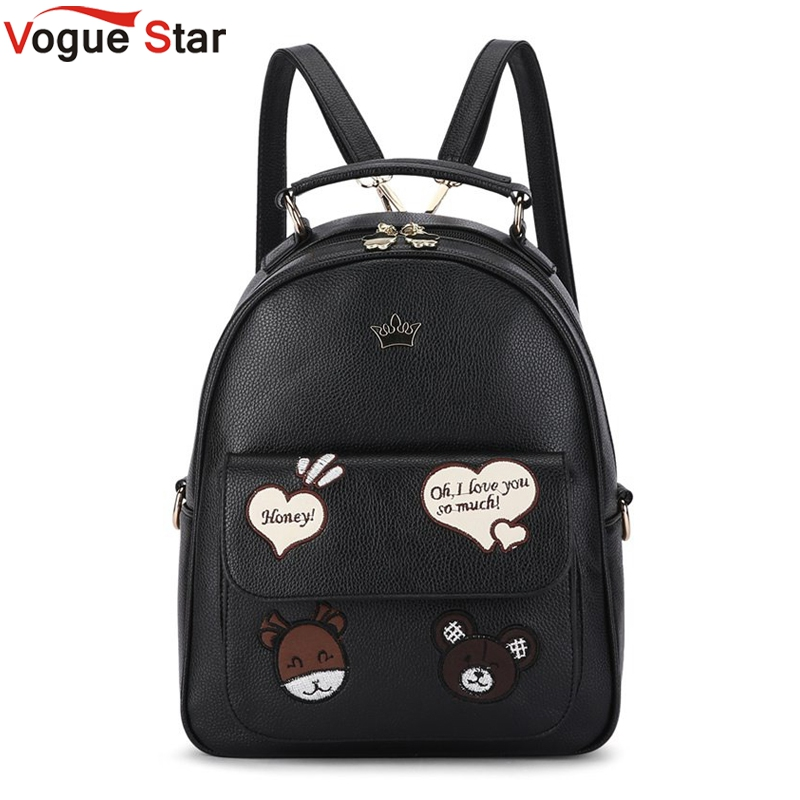 Vogue Star New 2017 High Quality Women Backpacks Famous Brands Fashion Lady Leather Backpack Bear School