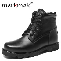 Merkmak Warm Thick Wool Men Winter Boots Size 38 48 Genuine Leather Russian Style Snow Military