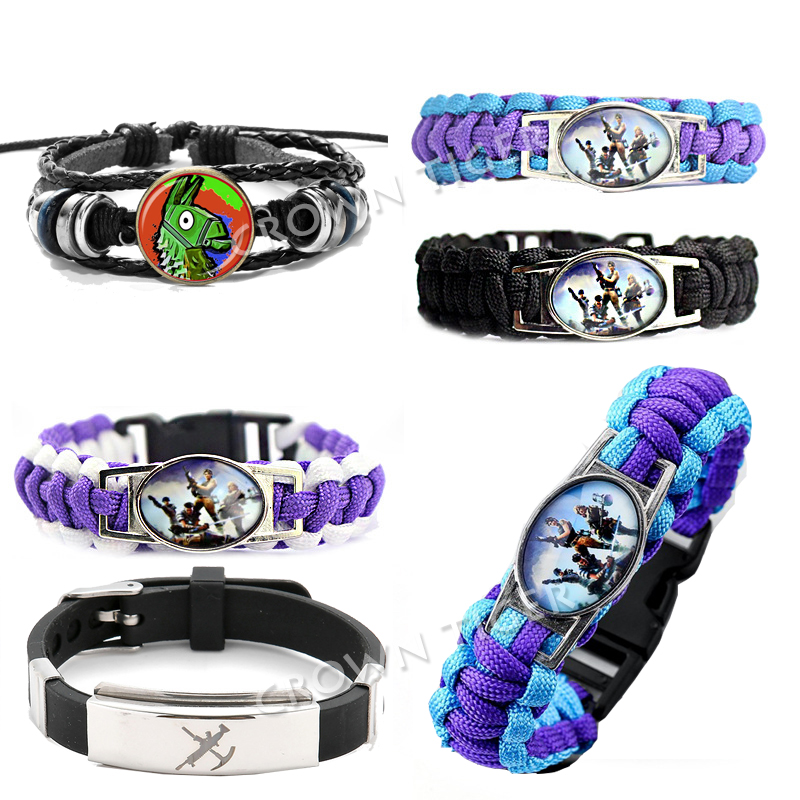 2019 New Fortinet Battle Royale Fortnight Bracelet Action Figure Toys Hand Made Wristband Llama Anime Bracelet For Kids Children