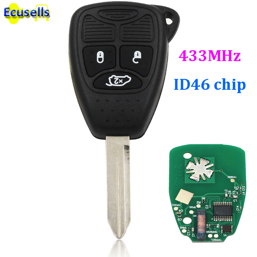 Keyless ENTRY Remote Key Fob 3 Button For Chrysler 300C PT Cruiser Sebring With Chip ID46 Full