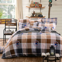Fashion Sanding Bedding Set 100 Cotton 4 Pcs King Queen Size Plaid Bedding Sets For New