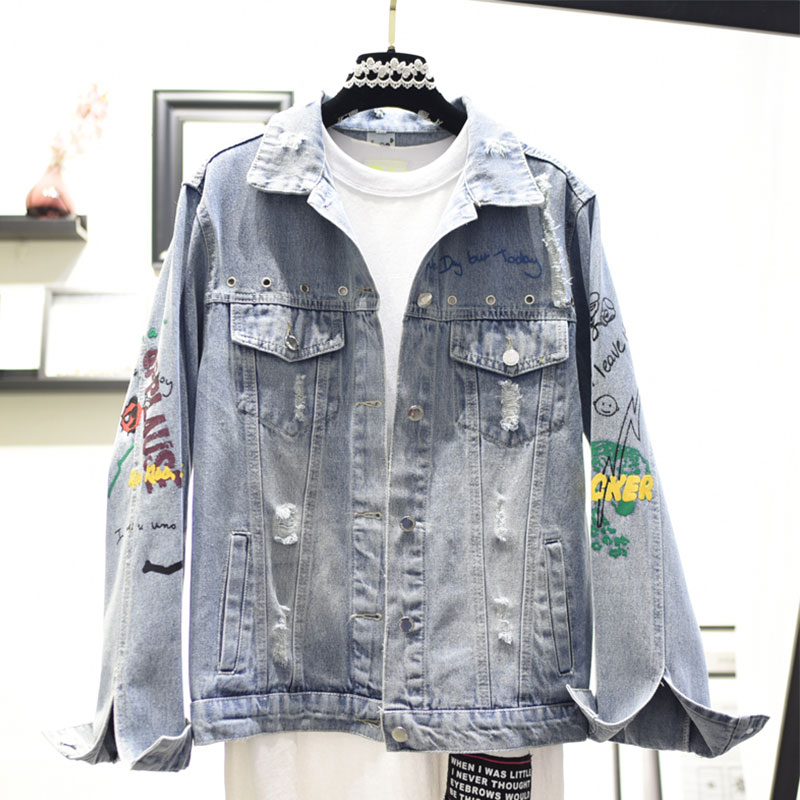 Brodé Blue Vintage Courte Femmes Jeans Printemps Mode Veste 2019 464 Bf Nouveau Casual De Manteau Automne Survêtement Denim T8zxPB