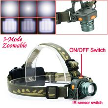 Hot Selling CREE LED 2000LM Motion Sensing Zoomable Headlamp Headlight Infrared Sensors