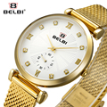 Belbi Roman Style Steel Mesh Women Watch Ladies Rhinestone Gold Quartz -Watches Fashion Dress Waterproof Wrist Watch Clock 2017