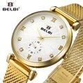 Belbi estilo romano de las mujeres de malla de acero reloj de señoras rhinestone vestido de cuarzo relojes de moda reloj impermeable del reloj de oro 2017