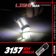 2x 80W 3157 T25 High Power Xenon White Led Vehicles Car Brake Backup Turn Singal Light Lamp With Projector 1900+LM 12-24V
