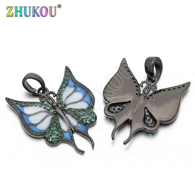 18*21 мм латунные кубические циркониевые подвески-бабочки для изготовления ювелирных изделий своими руками, отверстие: 1 мм, Модель: VD217