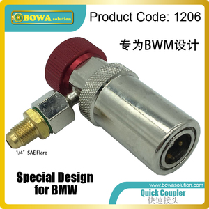 High quality and special design quick coupler for BWM auto air conditioner refrigerant/coolant charging, across thick plate