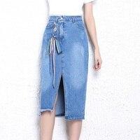 Mid Lange Denim Rok Koreaanse Fashion Blauw Gedragen Lace-Up jean rok Vrouwen Zomer 2018 S-XL Vrouwelijke Kokerrok Boog Hoge taille