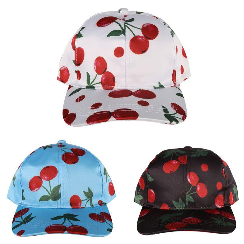 Men Women Embroidered Snap Back Cherry Pattern  Hip Hop Cap Hats Baseball Hat New