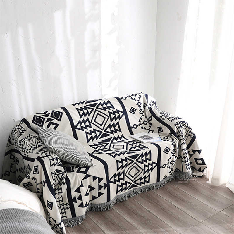 Geometric Sofa Blanket Throws Cotton
