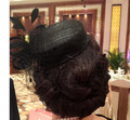 blackWomens Lady Vintage Fascinator Wool Hair Pillbox Hat Bowknot Veil Felt Party Wedding Socialite