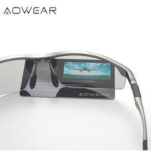 Image 3 - AOWEAR Photochromic Sunglasses Men Polarized Day Night Driving Glasses High Quality Aluminium Rimless Chameleon Eyewear Gafas
