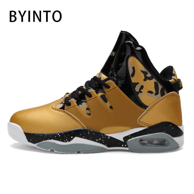 High top men basketball shoes air cushion PU light man sneakers non-slip  shock sports b4e6bd78e7f