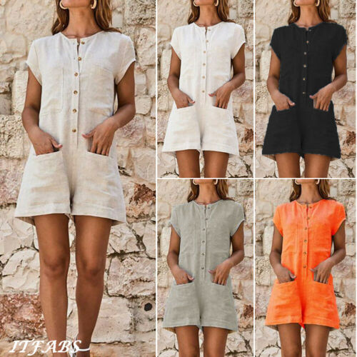 Vintage Ladies Jumpsuit Summer Linen Comfortable Shorts Skirt Beach