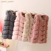 New 2018 Autumn Winter Girls Initation Rabbit Fur Vests Children Patchwork Warm Outwear Coat Kids Waistcoat Cyy291