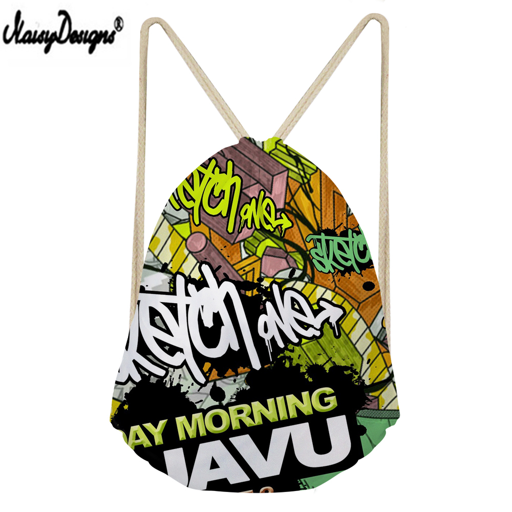 NOISYDESIGNS Linen Drawstring Bag Hip Hop Graffiti Printed Small Drawstring Women Shopping 3D Customzied Mochilas Saco