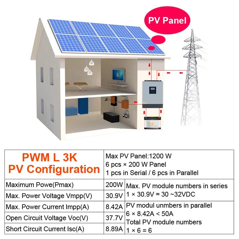 Image 5 - 3kva Solar Inverter 24V 220V Hybrid Inverter Pure Sine Wave Built in 50A PWM Solar Charge Controller Battery Charger inversorSolar Inverters   -