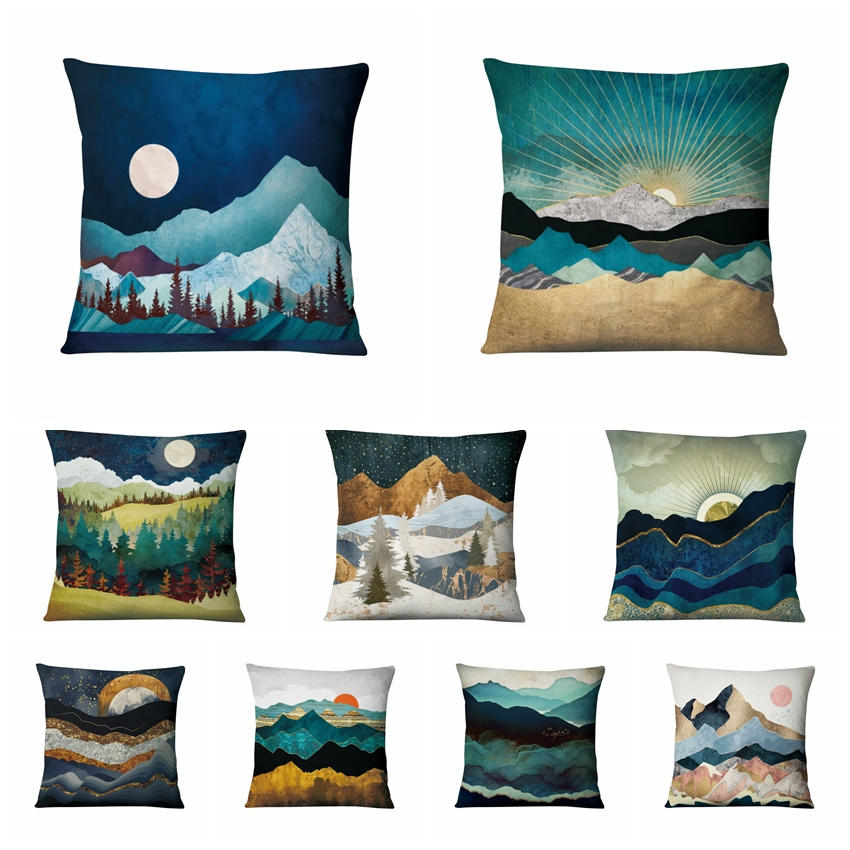 Mountains Rivers Valleys Painting Cushion Decorative Pillow Thin Linen Pillowcase Home Pillow Decoration Sofa Throw Pillows 17in