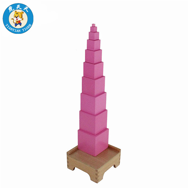 Montessori Sensorial Toys Baby Wooden Toys Preschool Educational Teaching Aids Pink Tower With Stand free shipping baby toys montessori educational wooden toys teaching logarithm version kids wooden building blocks toys gift 1pc