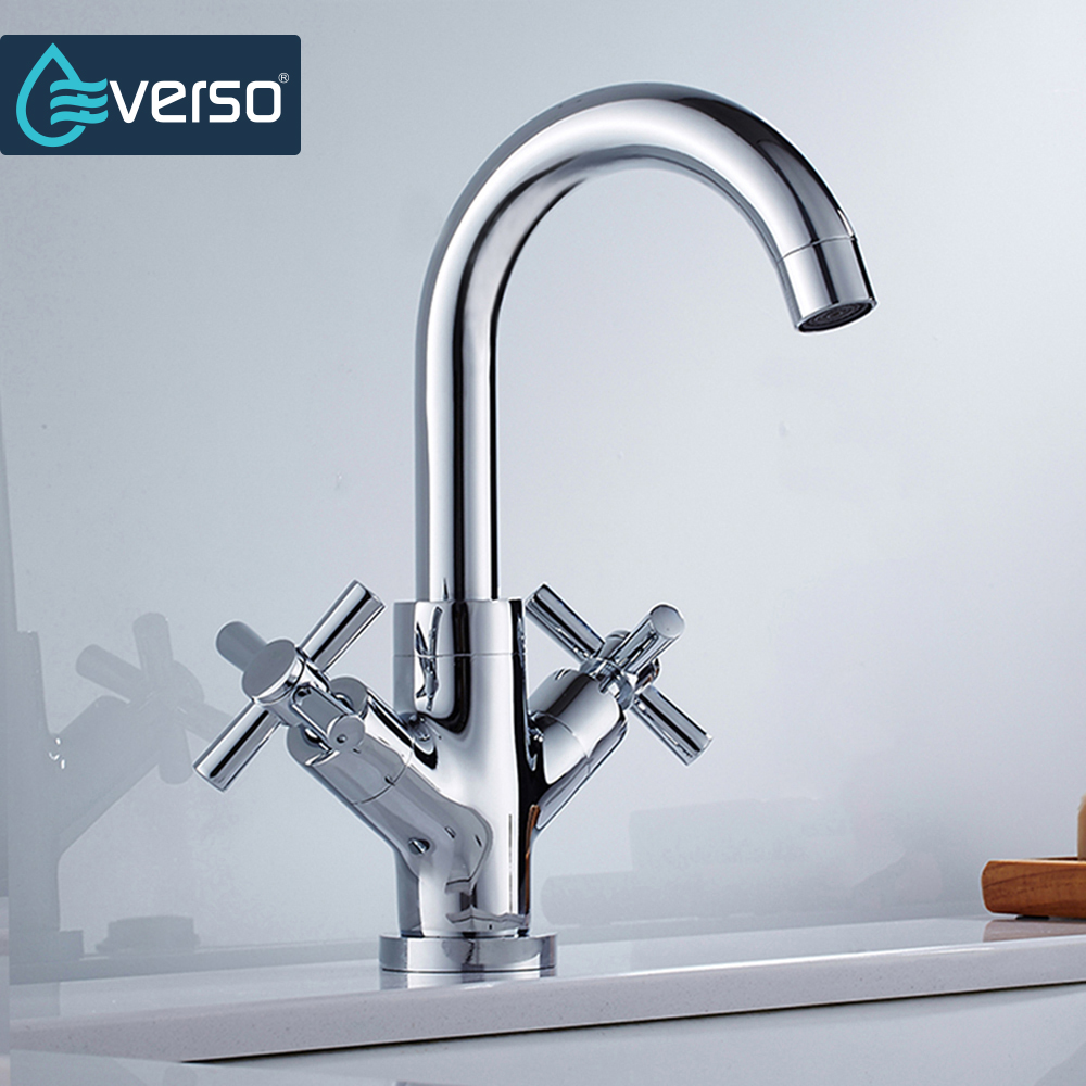 EVERSO Unique Brass Kitchen Faucet Chrome Dual Handle Single Hole Bathroom Sink Tap Save Water Aerators