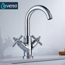 Everso уникальный латунь смеситель для кухни хром двойной ручкой одно отверстие раковины ванной комнаты коснитесь Сохранить воды аэраторы