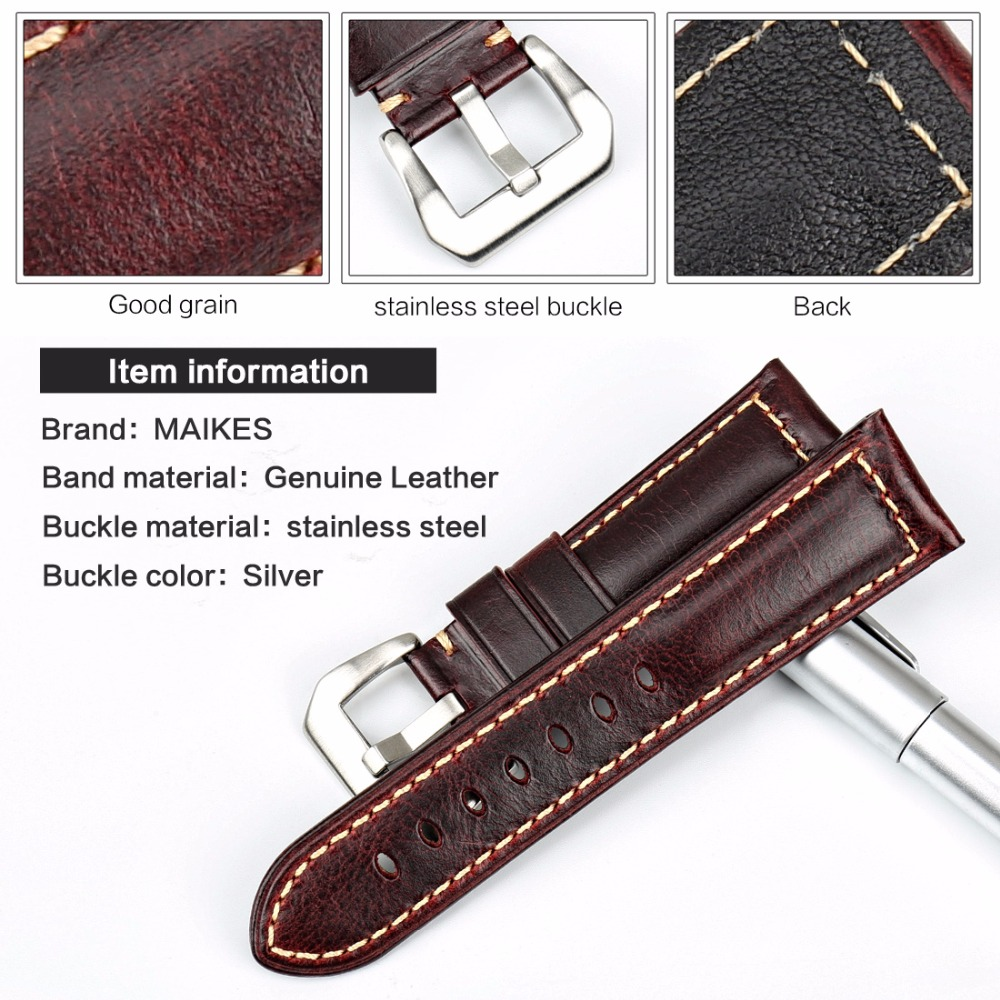 MAIKES Fashion Red Watch Accessories Vintage Oil Wax Leather Watch Strap 20mm 22mm 24mm 26mm Watchband For Panerai Watch Band in Watchbands from Watches