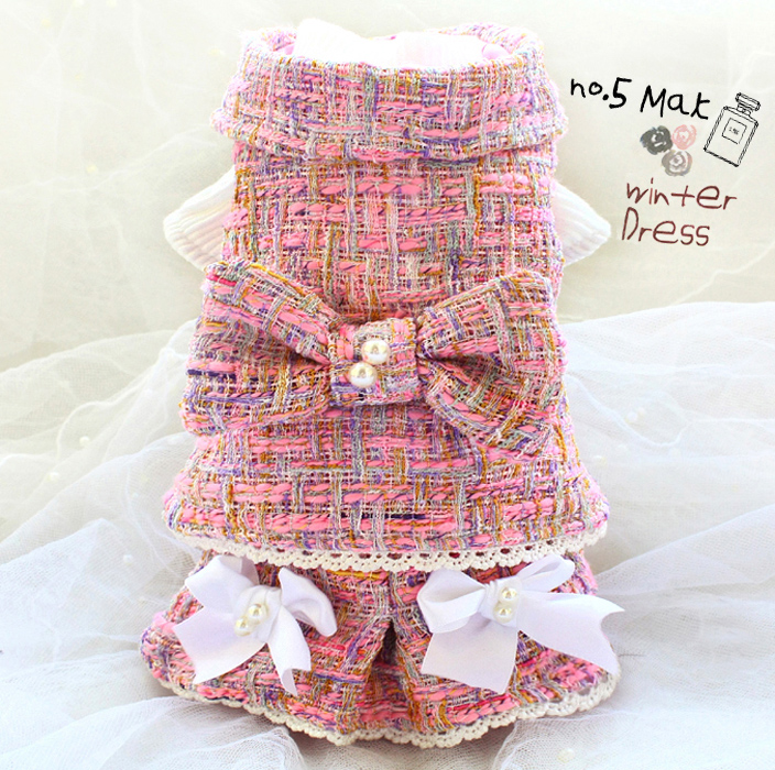 Free shipping handmade luxurious dog clothes C style thickened pink tweed suit jacket knit dress pet