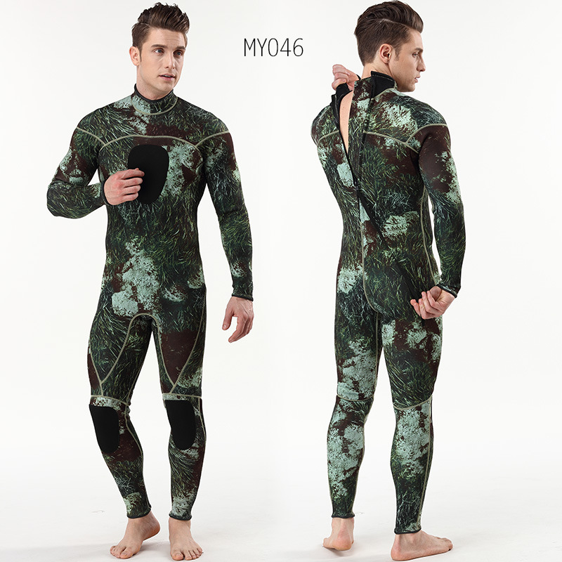 3mm Camouflage Diving Suit Men Snorkeling Equipment Long Sleeve Swimming Wetsuit One Piece and Close Body