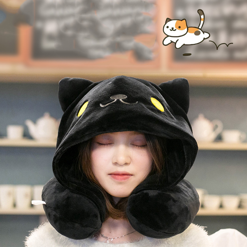 Cute Hoodie Cat Neck Pillow 1