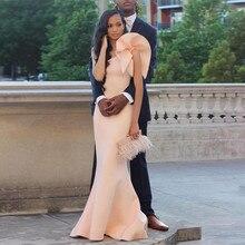 Neue Einfache Günstige Formal Afrikanische Abendkleider Robe De Soiree Courte Elegantes Haut-rosa Schulter-trompete Lange Abendkleider