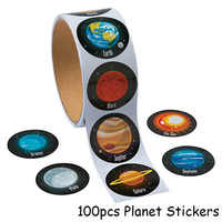 100pcs Planet Paper Stickers Outer Space Birthday Party Decorations Kids Astronomy Mars Earth Paper Stickers Tag Party Supplies