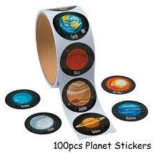 100 stücke Planet Papier Aufkleber Weltraum Geburtstag Party Dekorationen Kinder Astronomie Mars Erde Papier Aufkleber Tag Partei Liefert