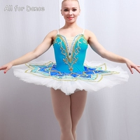 Синий спандекс лиф с Белая юбка балетки танцевальный костюм пачка Для женщин и девочек Профессиональный Классический блин пачка