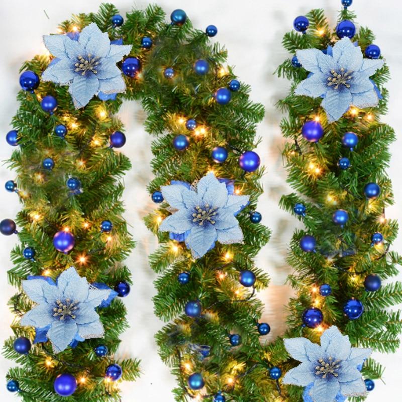 5PCS/Lot Christmas Garland 13cm Glitter DIY New Xmas Trees Ornament Wedding Decor Hot Sale Hanging Artificial Flower