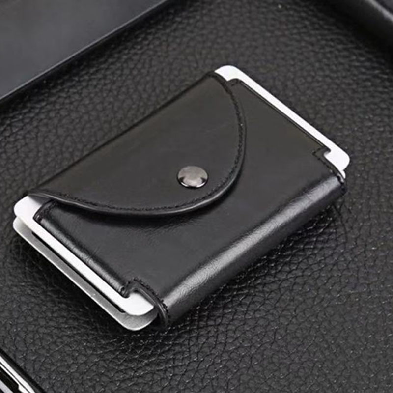 Wholesale New Credit Card Holder Metal RFID Blocking Money Pocket Fashion Bank Id Holders Pu Leather Case