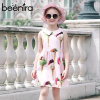 Princess Dress Girls Pink Dress 2017 Brand Girls Summer Dress Ice Cream Print Kids Clothes Knee Length Party Dress Sleeveless