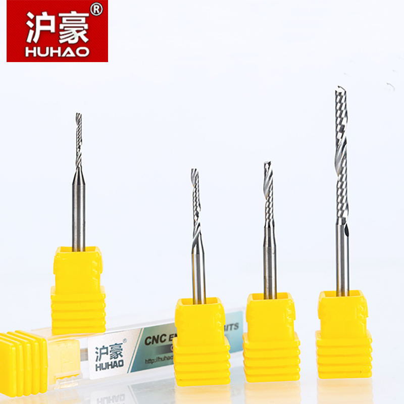 HUHAO 1PC 3.175mm Single Flute Spiral  router bits CNC end mill For MDF Tungsten Carbide Milling Cutter tugster steel cnc tools  huhao 1pc 6mm one flute spiral engrving bits cnc end mill tungsten carbide router tool pcb milling cutter router bits for wood