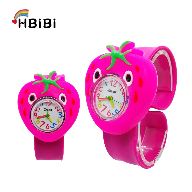 Wholesale Hot Sale Children's Watch Cartoon Strawberry Kids Watches Tape Patted Table Clock Quartz Wristwatches Girls Boys Gift