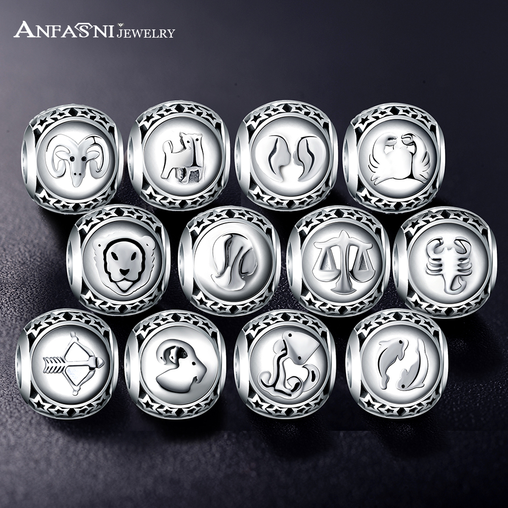 ANFASNI New Arrival 925 Sterling Silver Vintage Star Beads Charms Fit Bracelets & Bangles Jewelry Twelve Constellations
