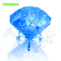 HAPPYXUAN 41pcs 8*5*13cm DIY 3D Jigsaw Crystal Puzzle Diamond Blue Pink Plastic Room Decoration Kids Educational Toys