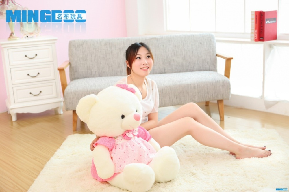 big size lovely teddy bear toy plush princess pink skirt teddy bear doll gift about 85cm new creative plush bear toy cute lying bow teddy bear doll gift about 50cm