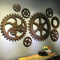 Vintage imitation metal wood gear old industrial shabby chic signs bar coffee creative wall hanging decoration Figurine 40cm